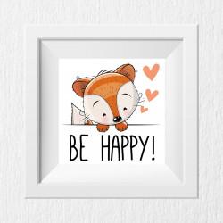013 Kinderzimmer Bild Be Happy Poster Plakat quadratisch 20 x 20 cm (ohne Rahmen)
