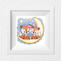 014 Kinderzimmer Bild Fuchs Mond Poster Plakat quadratisch 20 x 20 cm (ohne Rahmen)