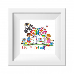 017 Kinderzimmer Bild Zebra bunt Poster Plakat quadratisch 20 x 20 cm (ohne Rahmen)