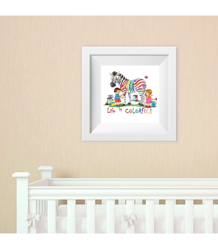 017 kinderzimmer bild zebra bunt poster plakat. Black Bedroom Furniture Sets. Home Design Ideas