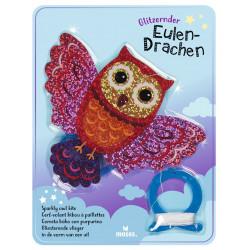 MOSES Glitzernder Mini Eulen-Drachen blau o. pink