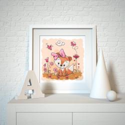 021 Kinderzimmer Bild Fuchs rosa Poster Plakat quadratisch 20 x 20 cm (ohne Rahmen)