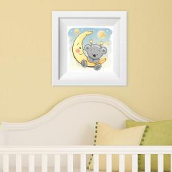 022 Kinderzimmer Bild Teddy Mond Poster Plakat quadratisch 20 x 20 cm (ohne Rahmen)