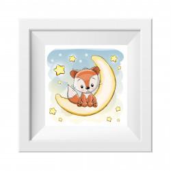 023 Kinderzimmer Bild Fuchs Mond Poster Plakat quadratisch 20 x 20 cm (ohne Rahmen)