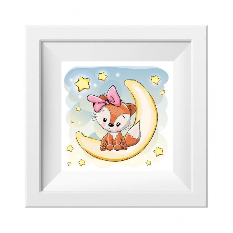 024 Kinderzimmer Bild Fuchs Mond Poster Plakat quadratisch 20 x 20 cm (ohne Rahmen)
