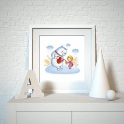 025 Kinderzimmer Bild Bär trinkt Tee Poster Plakat quadratisch 30 x 30 cm (ohne Rahmen)