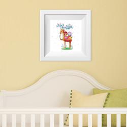 027 Kinderzimmer Bild Hirsch Reh Poster Plakat quadratisch 30 x 30 cm (ohne Rahmen)