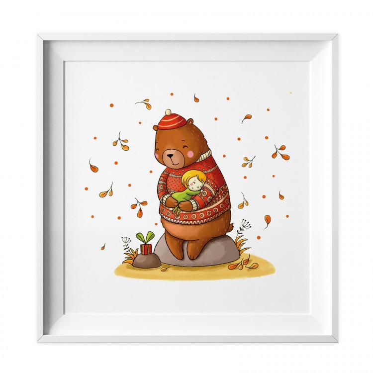 028 Kinderzimmer Bild Bär Herbst Poster Plakat quadratisch 30 x 30 cm (ohne Rahmen)