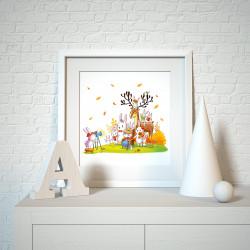 029 Kinderzimmer Bild Tiere Foto Poster Plakat quadratisch 30 x 30 cm (ohne Rahmen)