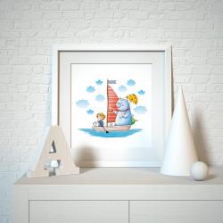 030 Kinderzimmer Bild Segelboot Poster Plakat quadratisch 30 x 30 cm (ohne Rahmen)