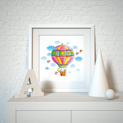 031 Kinderzimmer Bild Ballon Poster Plakat quadratisch 30 x 30 cm (ohne Rahmen)