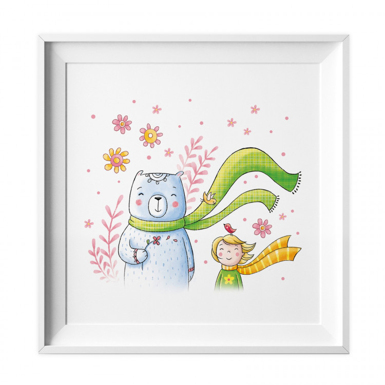 032 Kinderzimmer Bild Bär Wind Poster Plakat quadratisch 30 x 30 cm (ohne Rahmen)