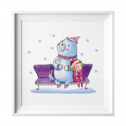 033 Kinderzimmer Bild Bär Winter Poster Plakat quadratisch 30 x 30 cm (ohne Rahmen)