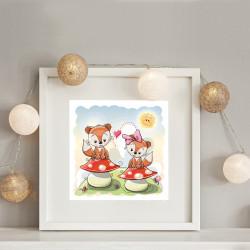 034 Kinderzimmer Bild Füchse Pilz Poster Plakat quadratisch 30 x 30 cm (ohne Rahmen)
