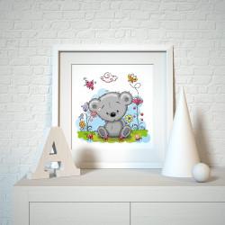 035 Kinderzimmer Bild Teddy Wiese Poster Plakat quadratisch 30 x 30 cm (ohne Rahmen)