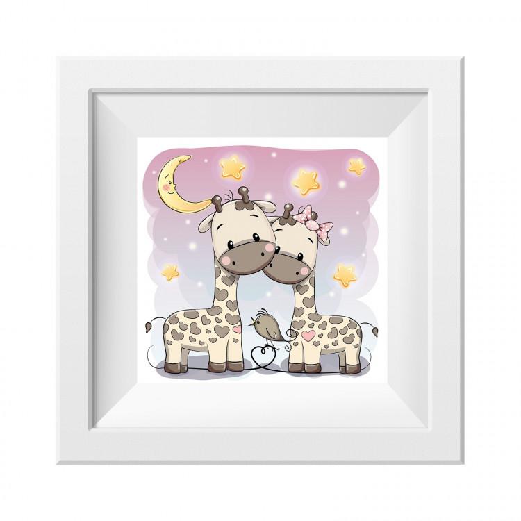 036 Kinderzimmer Bild Giraffen Poster Plakat quadratisch 30 x 30 cm (ohne Rahmen)
