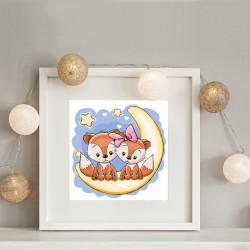038 Kinderzimmer Bild Füchse Mond Poster Plakat quadratisch 30 x 30 cm (ohne Rahmen)