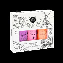 NAILMATIC KIDS - 3er Set natürlicher Kinder Nagellack PARIS