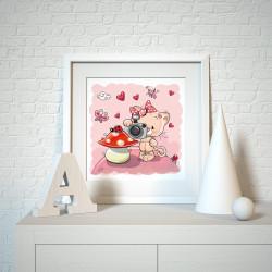 039 Kinderzimmer Bild Katze Pilz Poster Plakat quadratisch 30 x 30 cm (ohne Rahmen)