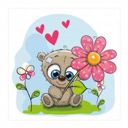 040 Kinderzimmer Bild Teddy Blume Poster Plakat quadratisch 30 x 30 cm (ohne Rahmen)