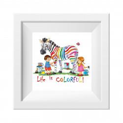041 Kinderzimmer Bild Zebra bunt Poster Plakat quadratisch 30 x 30 cm (ohne Rahmen)