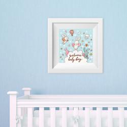 042 Kinderzimmer Bild Babyboy Blau Poster Plakat quadratisch 30 x 30 cm (ohne Rahmen)