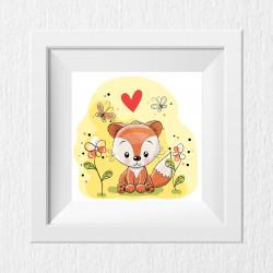 043 Kinderzimmer Bild Fuchs Gelb Poster Plakat quadratisch 30 x 30 cm (ohne Rahmen)