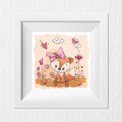 044 Kinderzimmer Bild Fuchs rosa Poster Plakat quadratisch 30 x 30 cm (ohne Rahmen)