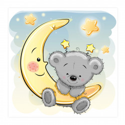 045 Kinderzimmer Bild Teddy Mond Poster Plakat quadratisch 30 x 30 cm (ohne Rahmen)