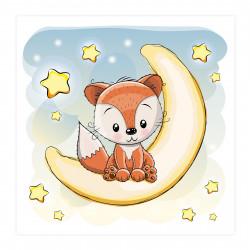046 Kinderzimmer Bild Fuchs Mond Poster Plakat quadratisch 30 x 30 cm (ohne Rahmen)