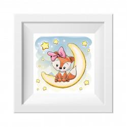 047 Kinderzimmer Bild Fuchs Mädchen Mond Poster Plakat quadratisch 30 x 30 cm (ohne Rahmen)
