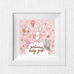 048 Kinderzimmer Bild Baby Girl rosa Poster Plakat quadratisch 30 x 30 cm (ohne Rahmen)