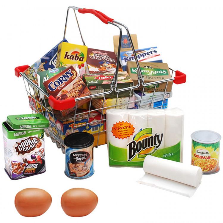 SMALL FOOT Einkaufskorb Metall mit Markenprodukten