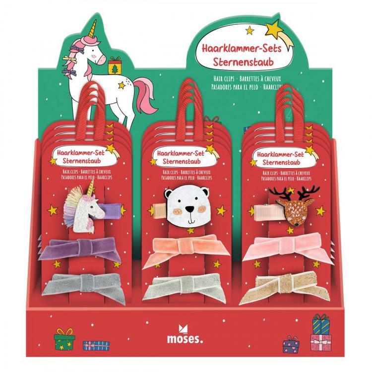 MOSES Haarklammer-Set Sternenstaub Haarspangen Weihnachten