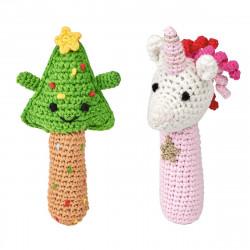 MOSES Häkelrassel Weihnachtsfreunde aus Baumwolle Rassel