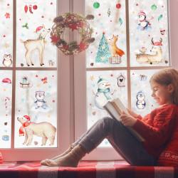 Fensterbilder Weihnachten selbstklebend - Statisch Haftende PVC Aufkleber