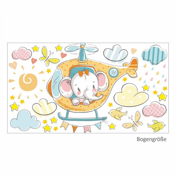 028 Wandtattoo Elefant auf Hubschrauber orange