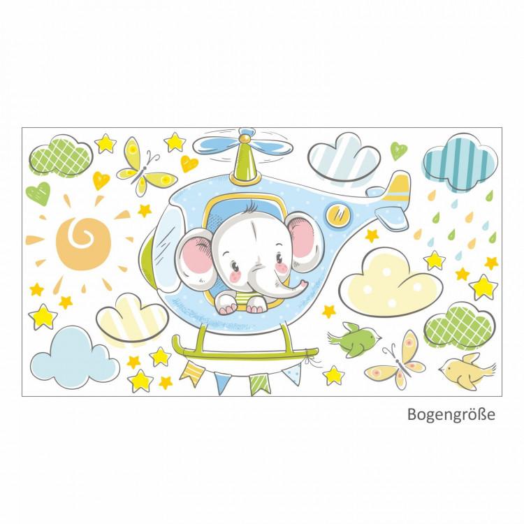 029 Wandtattoo Elefant auf Hubschrauber hellblau