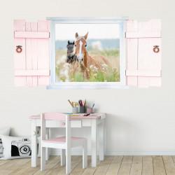 023 Wandtattoo Pferde im Fenster mit Fensterläden