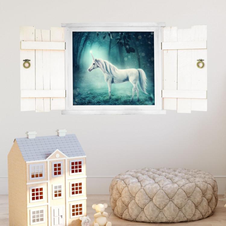 026 wandtattoo einhorn im fenster mit fensterl den. Black Bedroom Furniture Sets. Home Design Ideas