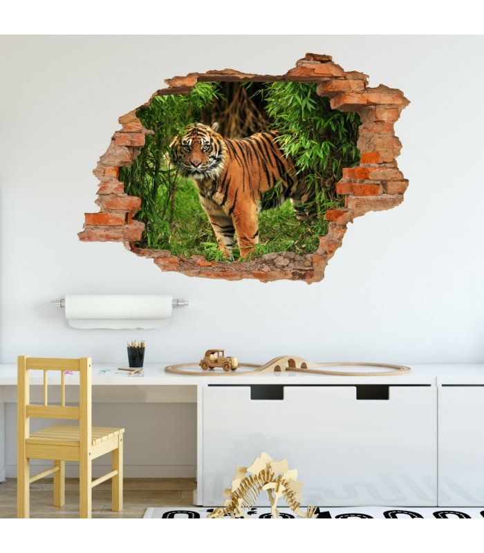 030 wandtattoo tiger im dschungel loch in der wand. Black Bedroom Furniture Sets. Home Design Ideas