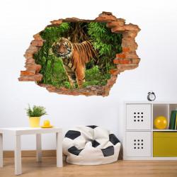 030 Wandtattoo Tiger im Dschungel - Loch in der Wand