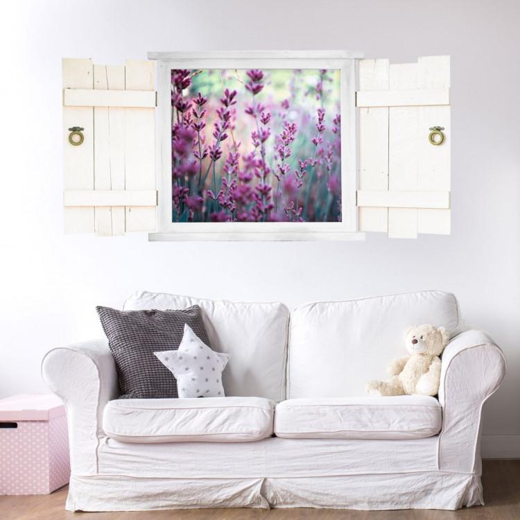 031 wandtattoo lavendel im fenster mit fensterl den. Black Bedroom Furniture Sets. Home Design Ideas