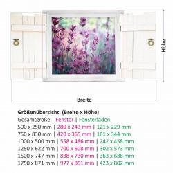 031 Wandtattoo Lavendel im Fenster mit Fensterläden