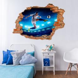 032 Wandtattoo Fussballer - Loch in der Wand