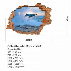 034 Wandtattoo Delfine - Loch in der Wand