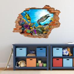 035 Wandtattoo Unterwasserwelt - Loch in der Wand