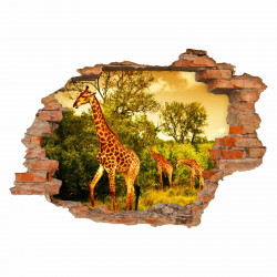 036 Wandtattoo Giraffen in Savanne - Loch in der Wand - Afrika