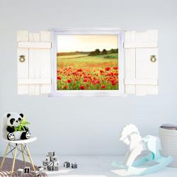 039 Wandtattoo Mohnwiese im Fenster mit Fensterläden