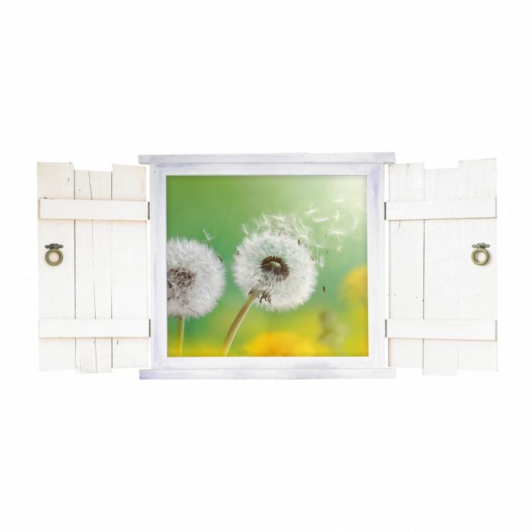 043 Wandtattoo Pusteblume im Fenster mit Fensterläden